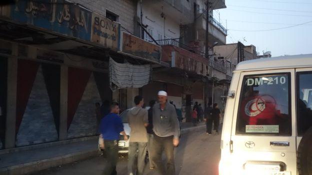 Muchas tiendas en Madaya fueron clausuradas por la falta de alimentos.