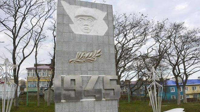 El monumento que conmemora a los muertos de la Segunda Guerra en Shikotan, una de las cuatro islas disputadas por Rusia y Japón.