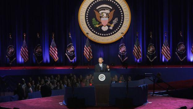 El discurso de despedida de Obama se prudujo 10 días antes del fin de su mandato.