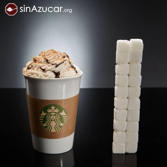Un café del Starbucks (variedad Mocca Blanco venti, con nata y sirope de chocolate) tiene 80gr de azúcar: 20 terrones. SINAZUCAR.ORG
