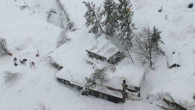 Esta imagen aérea de los bomberos de Italia muestra cómo el hotel fue sepultado por la avalancha.