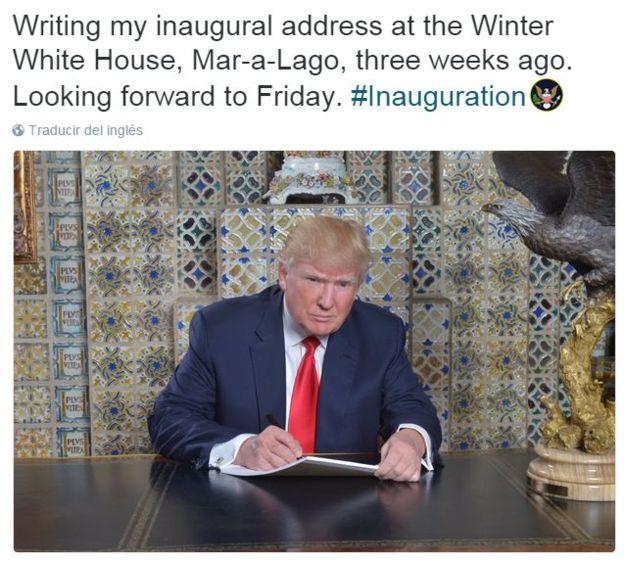 """""""Escribiendo mi discurso de toma de posesión en la Casa Blanca Invernal, Mar-a-Lago, hace tres semanas. Deseando que llegue el viernes"""", escribió Trump en su Twitter."""