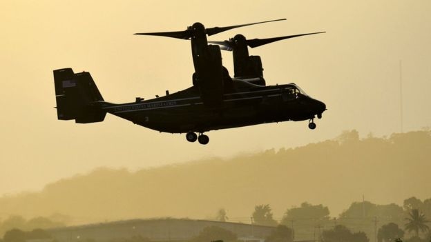 Una aeronave Bell-Boeing V-22 Osprey como la de la foto fue destruida durante la misión.