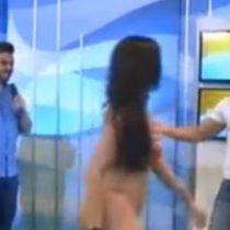 [VIDEO] Modelo brasileña reacciona ante toqueteo inadecuado en televisión