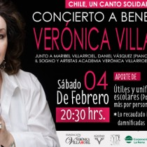 Concierto solidario con soprano Verónica Villarroel en Centro Cultural Vicente Bianchi
