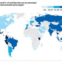 ¿Dónde está Chile en el ranking de las economías cuya fuerza laboral está más amenazada por robots?