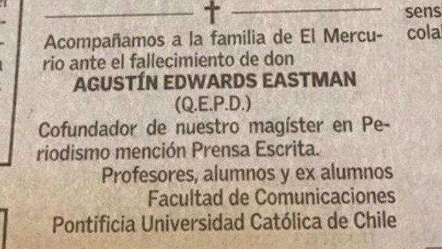 Obituario de Agustín Edwards publicado en El Mercurio genera polémica al interior de la Facultad de Comunicaciones UC