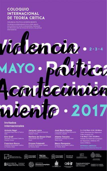 """Coloquio de teoría crítica """"Violencia, política y acontecimiento"""" en Valparaíso"""