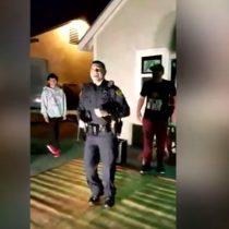 [VIDEO] Policía fue a investigar un llamado por ruidos molestos y terminó siendo el alma de la fiesta