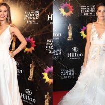 Pampita y Juana Viale llegan vestidas del mismo color y por el mismo diseñador a Premios Martin Fierro