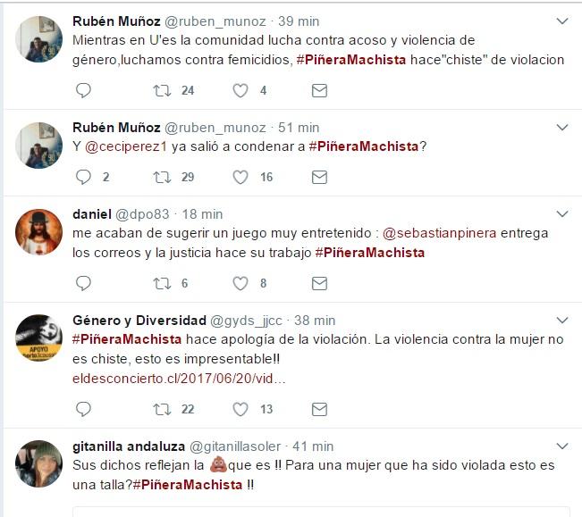 Piñera encendió la polémica con cuestionado chiste machista