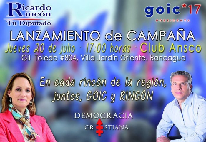 Diputado Rincón lanza campaña con imagen de Goic pese a conflicto por violencia contra ex pareja