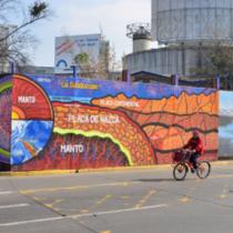 Geólogos y artistas urbanos crean primer mural científico-educativo de Santiago