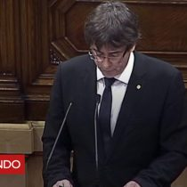 [VIDEO] Puigdemont pide suspender los efectos de la declaración de independencia para promover el diálogo con España