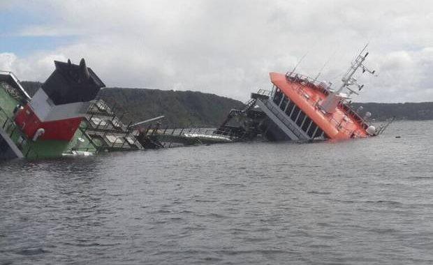 Barco se hunde con más de 60.000 litros de petróleo y 200 toneladas de peces en Chiloé
