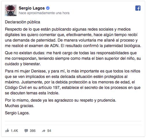 Sergio Lagos: Efectivamente, recibí una demanda de paternidad