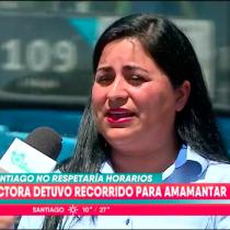 La chofer de transantiago que dejó el bus botado en Plaza Italia por amamantar a su hija