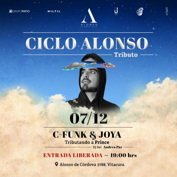 Show tributo a Prince con C-Funk & Joya en edificio Alonso
