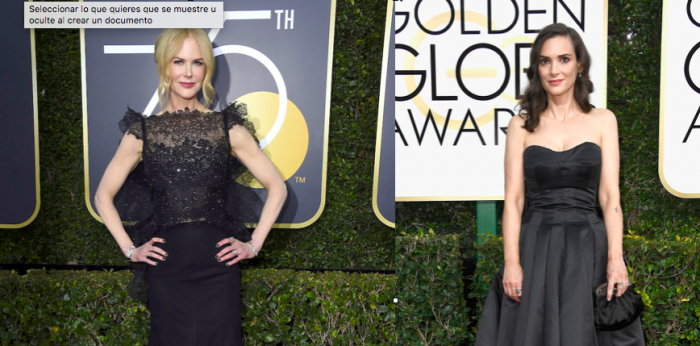 Nicole Kidman y Winona Ryder en la alfombra roja de los Globos de Oro 2018