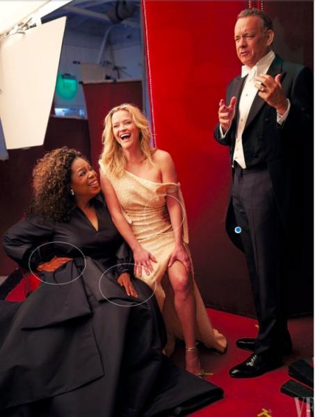El error de photoshop de Vanity Fair que dejó con tres piernas a Reese Whiterspoon y tres manos a Oprah Winfrey