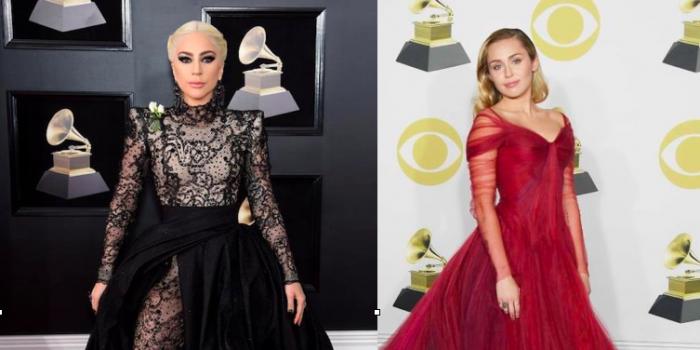 Los impactantes vestidos de Lady Gaga y Miley Cyrus en los Grammy 2018