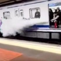 [VIDEO] Tomen nota: Conductor del metro de Madrid espanta a graffiteros con un extintor