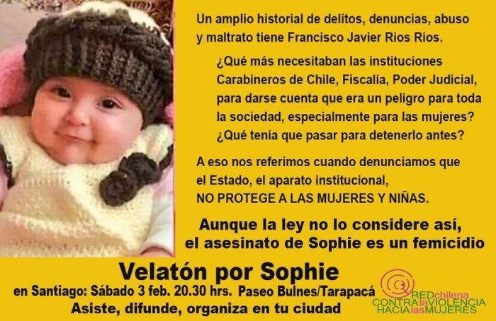 Red Chilena contra la Violencia hacia las Mujeres convoca a velatón por Sophie