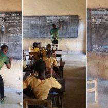El profesor de Ghana que enseña informática en una pizarra y sin computadoras se convierte en un éxito viral