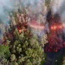 Así se ve desde el aire la erupción del volcán Kilauea en Hawái, uno de los más activos del mundo