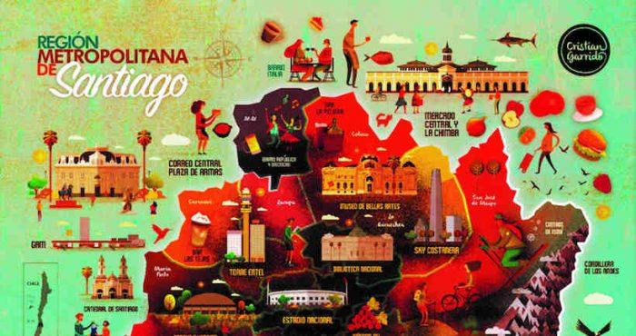 Mapas ilustrados de Chile reconocen lo más característico de cada región