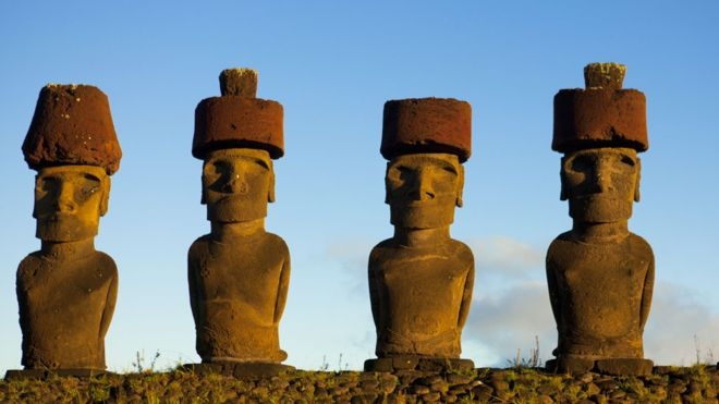 Resuelven misterio de cómo se colocaron los sombreros en los moai de la Isla de Pascua