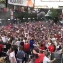 Así celebraron el  gol de Trippier los hinchas de Inglaterra
