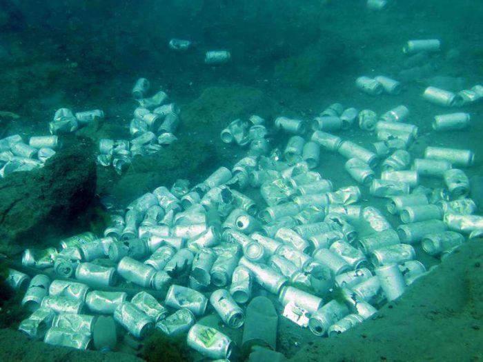 Encuentran basural de latas de cerveza en el fondo del Lago Llanquihue