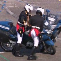 ¿Presagio de la final? Motoristas chocan al frente del presidente francés durante celebración de su día nacional
