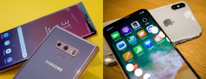 Note 9 de Samsung contra iPhone X: 2 teléfonos de US$1.000