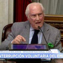 """El duro discurso del senador Pino Solanas ante la votación del senado en Argentina: """"Nadie podrá parar a la oleada de la nueva generación. Será ley, habrá ley, contra viento y marea"""""""