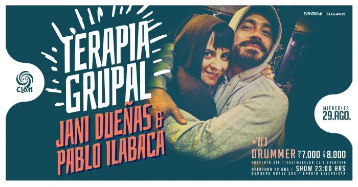 Terapia Grupal con Jani Dueñas y Pablo Ilabaca en Bar El Clan