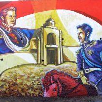 El mural de grafiteros sobre los héroes de la independencia en la comuna de Maipú