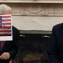 """""""Chile está en el corazón de EEUU"""": la explicación de Piñera para la curiosa bandera que mostró a Trump"""