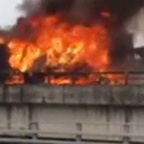 La explosión que se originó por el choque de dos camiones en la ruta 5 Sur