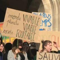 La masiva protesta de estudiantes en las calles de París contra el cambio climático