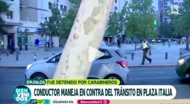 Conductor manejando en contra del tránsito en Plaza Italia se cruza en la nota de un matinal