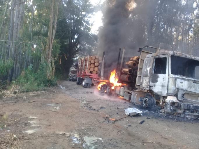Pese al estado de excepción, quemaron 6 maquinarias forestales en Contulmo, Región del Biobío