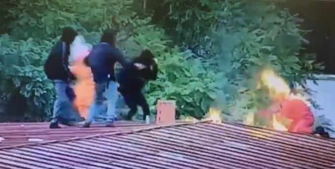 Estudiante del Instituto Nacional se quema con bomba molotov cuando intentaba lanzarla contra Carabineros