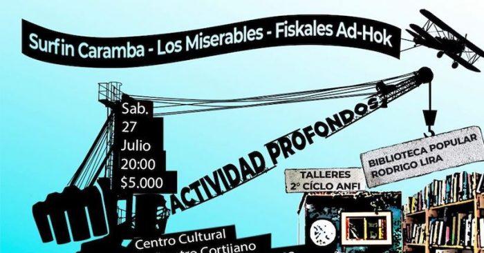 Concierto con Fiskales Ad Hok, Los Miserables y Surfin Caramba en Centro Cultural Anfiteatro Cortijano