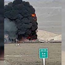 Violento accidente entre dos camiones provoca explosión y deja fallecidos en ruta entre Calama y San Pedro de Atacama