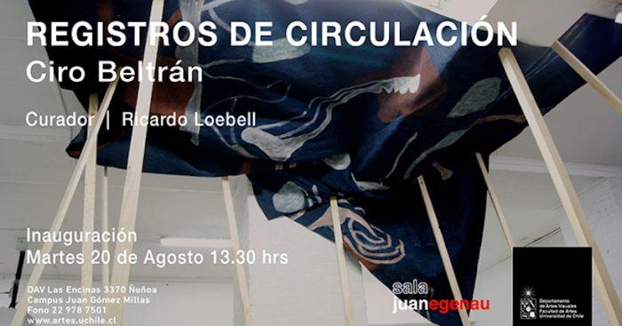"""Exposición """"Registros de Circulación"""" del artista nacional Ciro Beltrán en Sala Juan Egenau"""