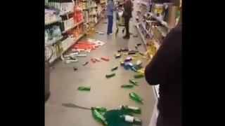 Video en un supermercado registra el momento de mayor intensidad del sismo en La Serena