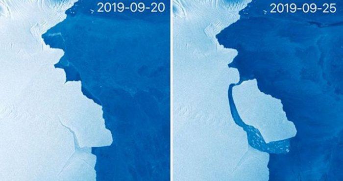 Antártica: las imágenes satelitales del desprendimiento de un iceberg de miles de millones de toneladas de hielo