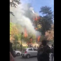 Incendio afecta a ladera del cerro Santa Lucía en medio de una nueva jornada de protestas